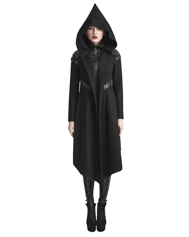 Y-611 Punk Rave Women Black Long Woolen Hooded Duffle Coat Plus Size Anorak Overcoat