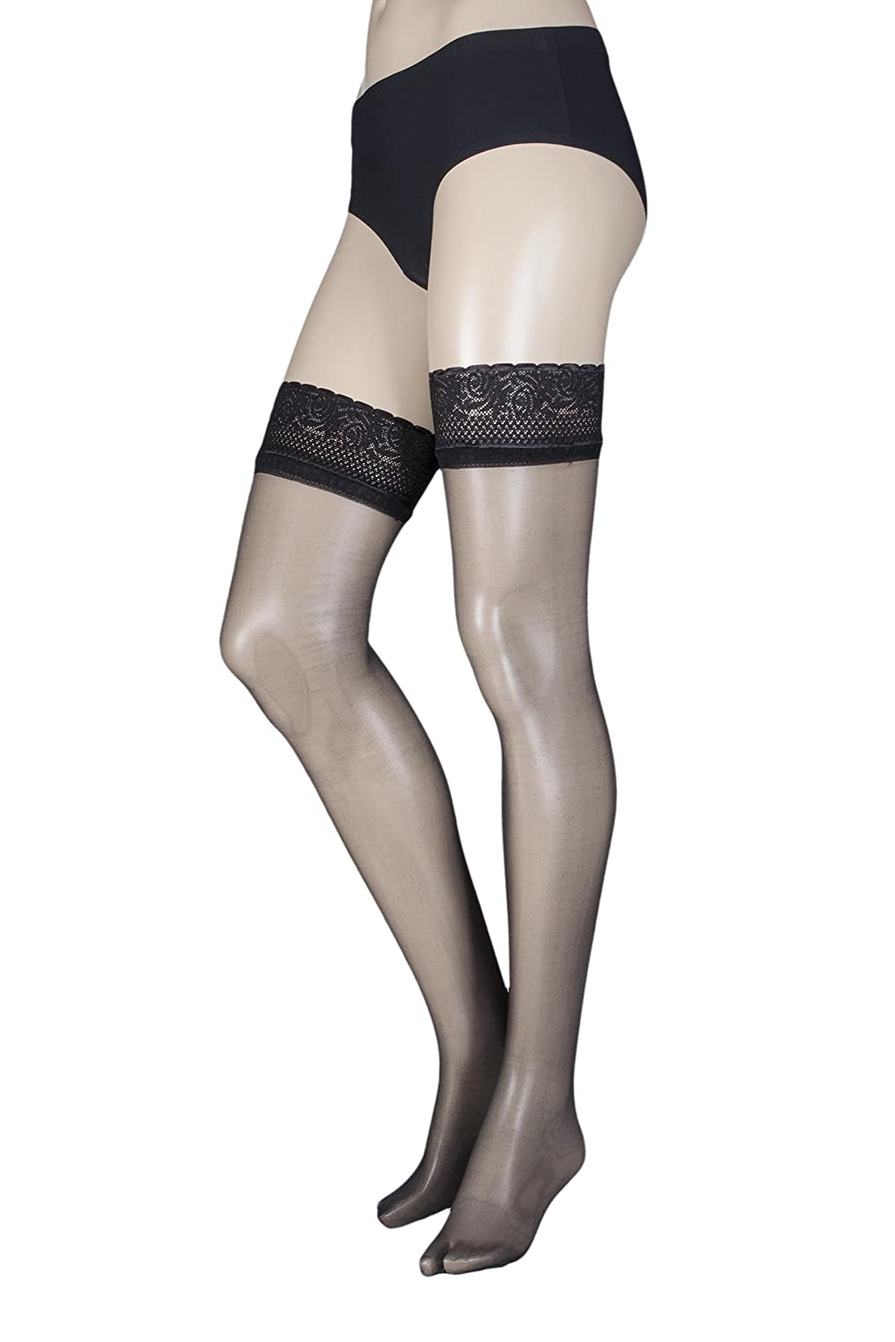 New Aristoc Women's 1 Pair 10 Denier Ultra Shine Hold Ups with Silk Finish Medium/Large Black