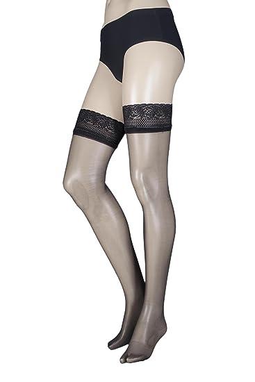 0cbe9a773 Aristoc Women's 1 Pair 10 Denier Ultra Shine Hold Ups with Silk Finish  Medium/Large Black at Amazon Women's Clothing store: Pantyhose