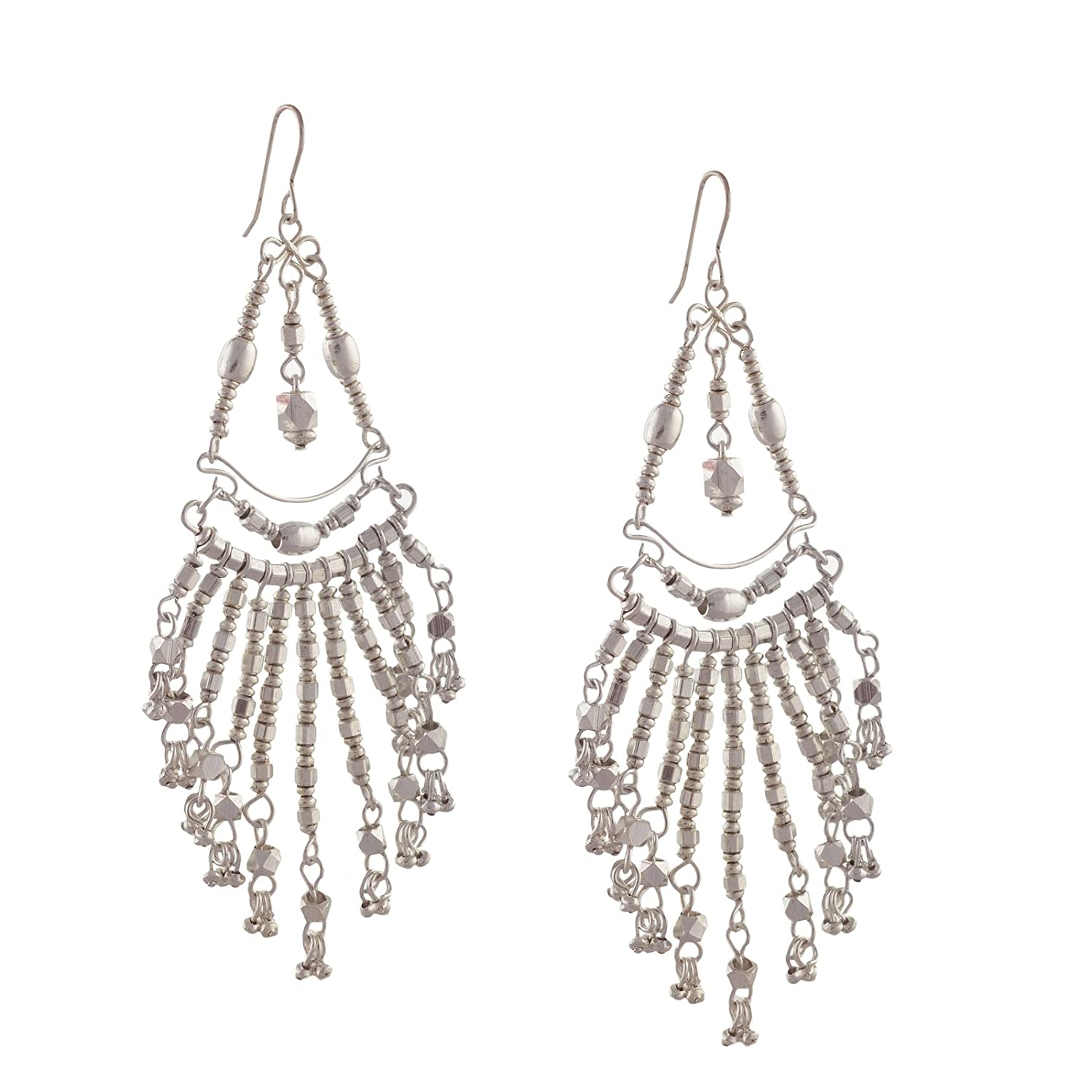 Ornamenta Fashion Jewelry Silver Tone Metallic Hook Dangler Tassel Earrings For Girls and Women