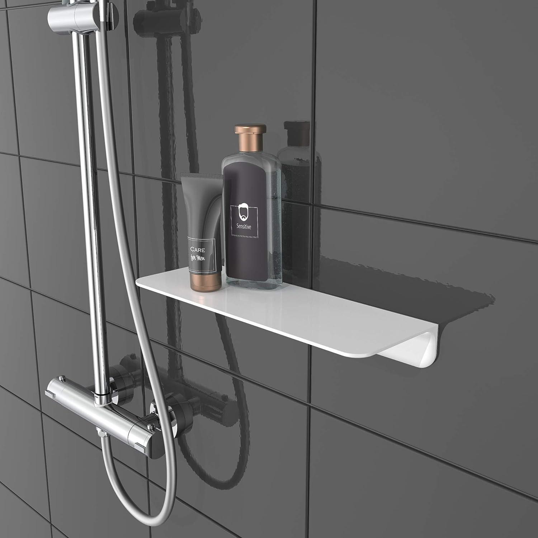 SCH/ÜTTE 10500 Duschablage selbstklebend Duschregal ohne Bohren Badregal Wei/ß Badablage zum Kleben Wandablage Bad Regal f/ür Badezimmer