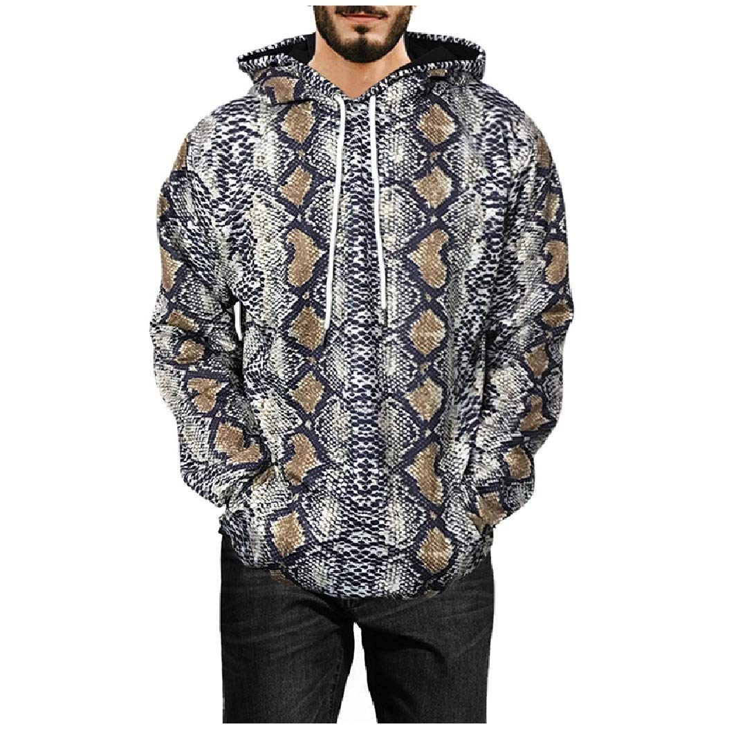 Mfasica Mens Printed Overcoat Long-Sleeve Plus Size Sweatshirt Hoodies