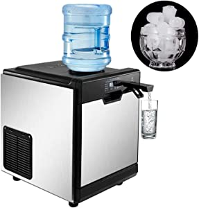 VBENLEM 2 in 1 Commercial Ice Maker with Water Dispenser 78LBS in 24 Hrs Nugget Ice Machine with 14LBS Storage 16 Bullet Cubes in One Cycle w/Scoop Perfect for Office Snack Bar (Water Tank on Top)