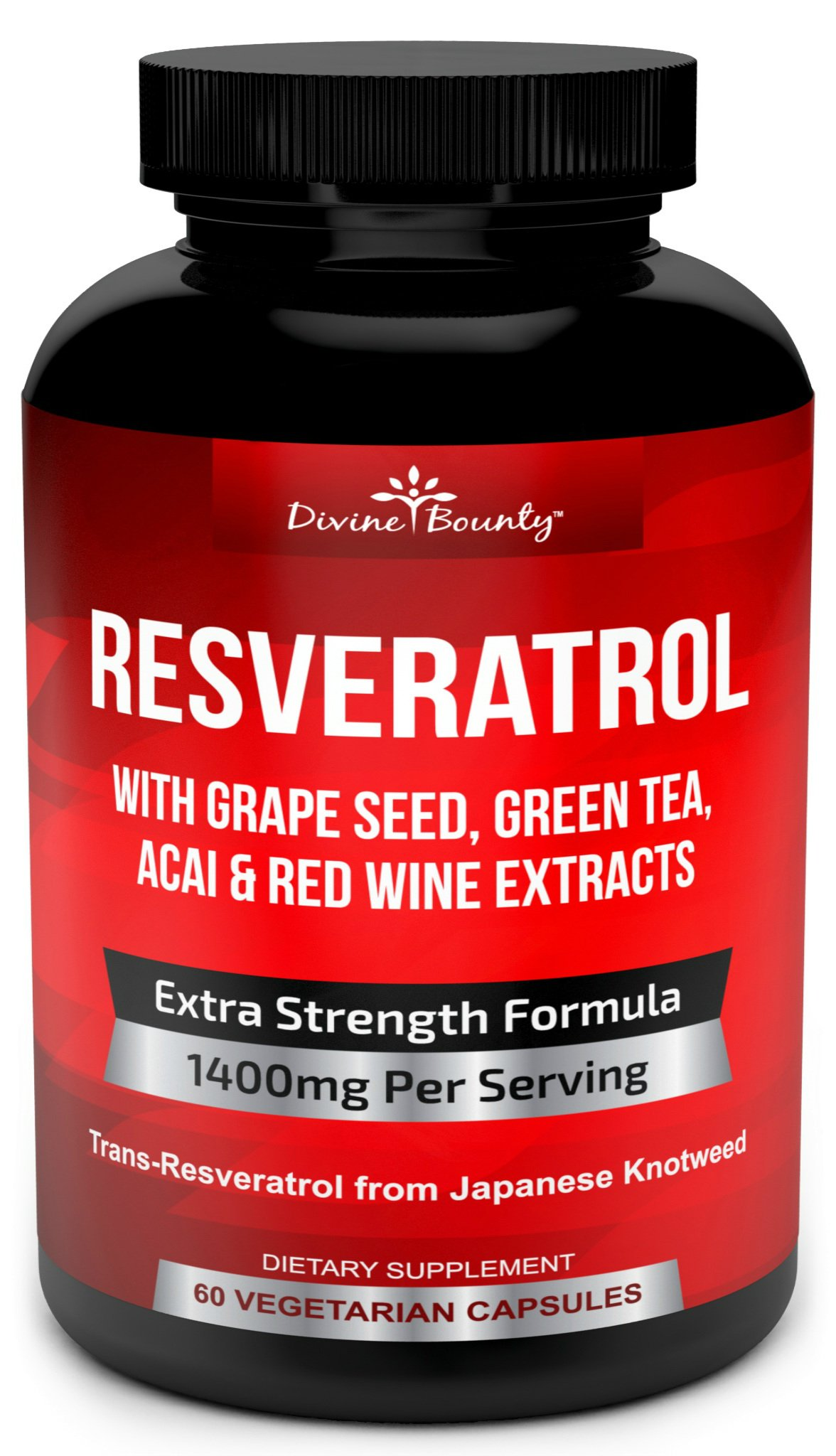 Resveratrol Supplement - 1400mg Extra Strength Formula with Grape Seed Extract, Green Tea Extract, Red Wine Extract- 60 Veggie Capsules - Made in USA by Divine Bounty