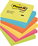 Post-it 654TFEN Haftnotiz Rainbow Notes, 76 x 76 mm, 5 Farben Active Collection, 100 Blatt, 6 Block - in weiteren Größen verfügbar