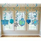 Joyous Hanukkah Festival Menorah Hanging Swirl Ceiling Decoration, Blue/Teal/Purple, Paper, Pack of 12