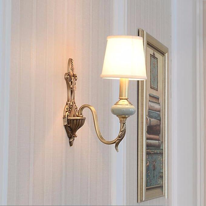 QPGGP-lámpara de paredDormitorio de estilo americano lampara velador Lampara de pared jardín mediterráneo sala estudio pasillos escaleras de lampara de pared de cobre,B1: Amazon.es: Iluminación