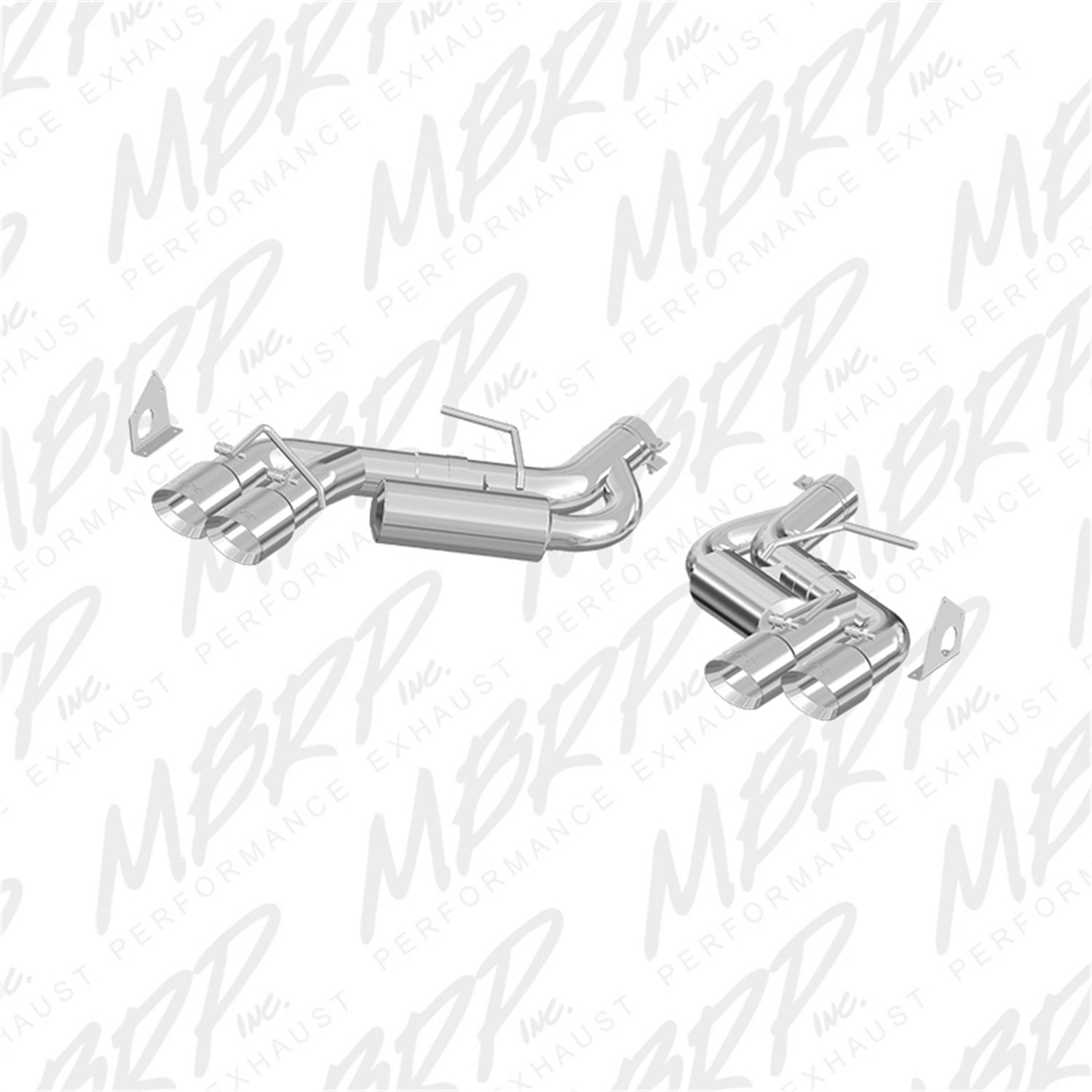 MBRP S7036AL 3 in. Dual Axle Back Quad Tips Aluminized Exhaust System   B01GCYCSYS