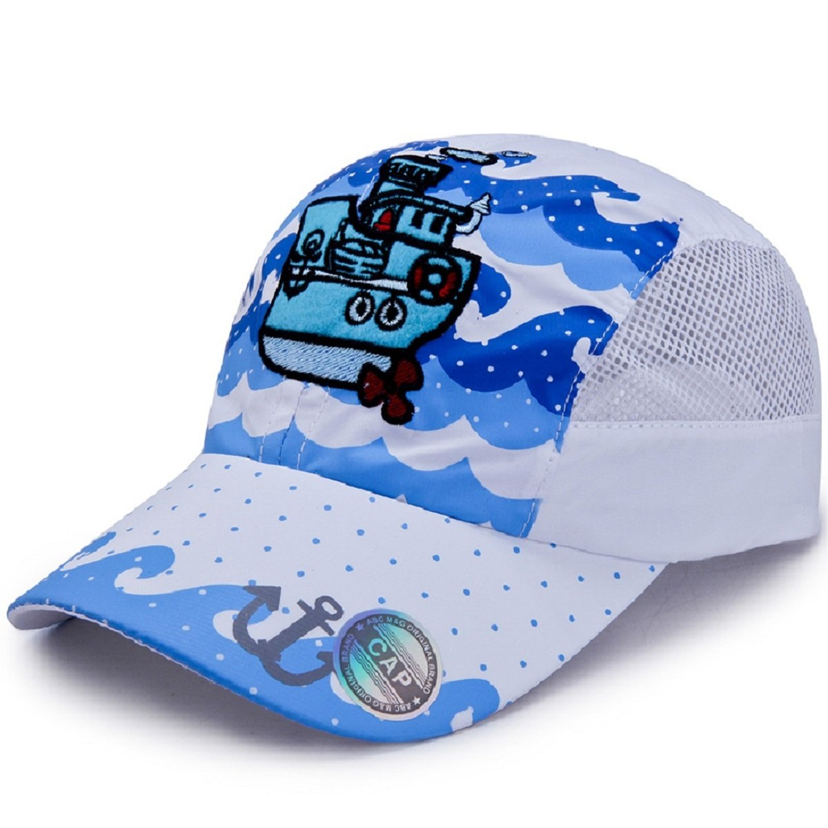 LLmoway Outdoor Kids Boys Summer Baseball Cap UPF50+ Sun Protection Mesh Running Hat Quick Dry White