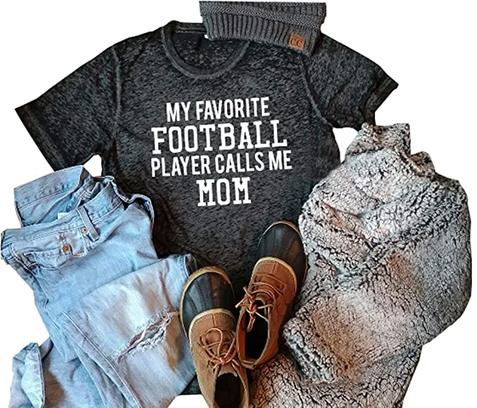 4bbd7513 Amazon.com: My Favorite Football Player Calls Me Mom Baseball T-Shirt Tops  Womens Casual Tee Tops: Clothing