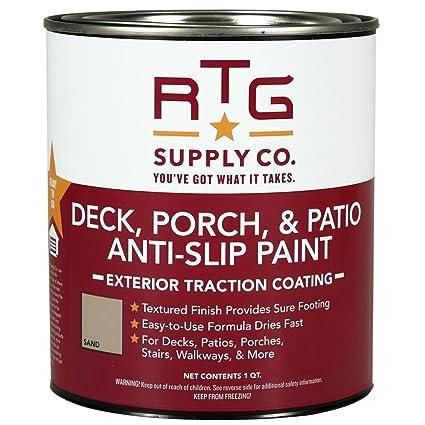 rtg deck porch patio anti slip paint quart sand amazon com