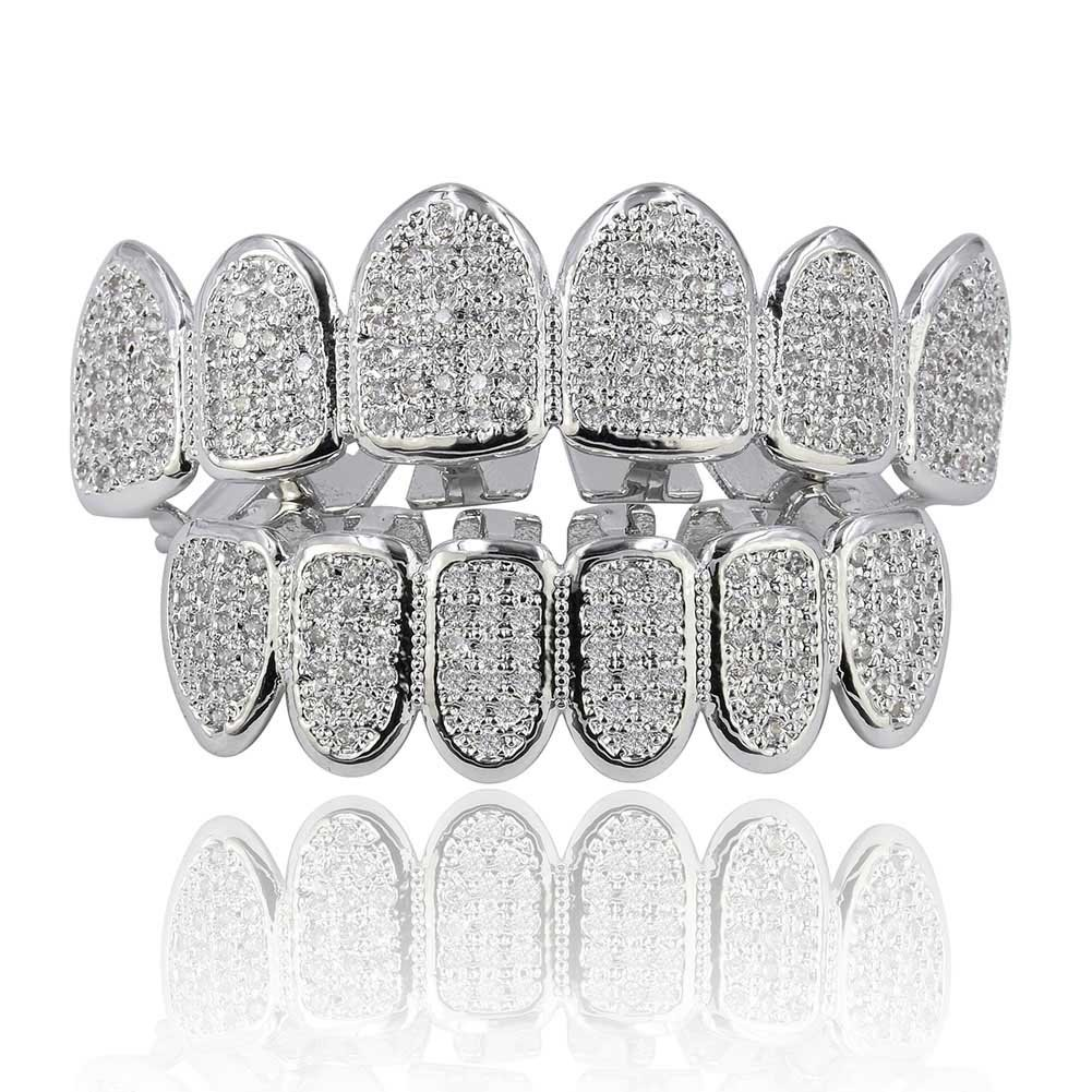 JINAO 18k Gold Plated All Iced Out Luxury Rhinestone Gold Grillz Set with Extra Molding Bars Included (Silver Set) by JINAO