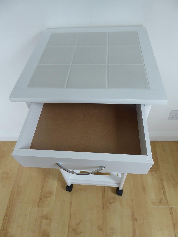 UK-Gardens Table de Cuisine /à roulettes Blanc avec roulettes tiroir /étag/ères en Bois et de vin