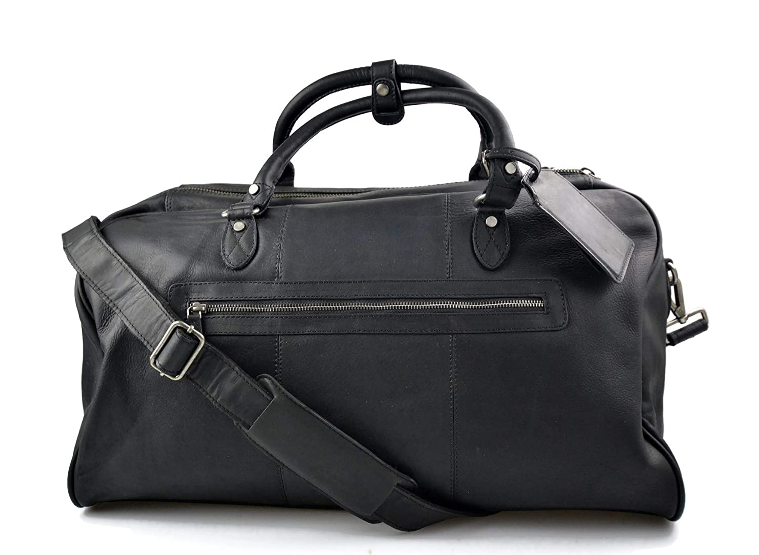 Black Real Leather Travel Duffle Weekend Gym Carry On Bag