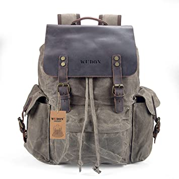 4a197a861 Travel Backpack for Men & Women| Water-Resistant Waxed Canvas & Genuine  Leather