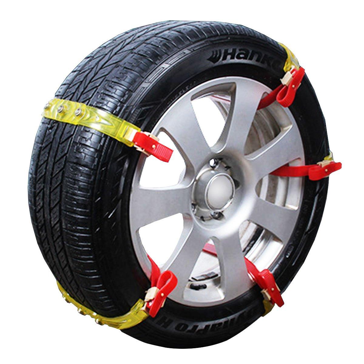 ロシヒ タイヤチェーン 自動車タイヤ滑り止めチェーン 簡易型 非金属タイヤチェーン 通用タイプ 雪道/凍結/砂道/悪路155mm-275mm幅のタイヤ対応 4本入 B079KRLD8Xgold