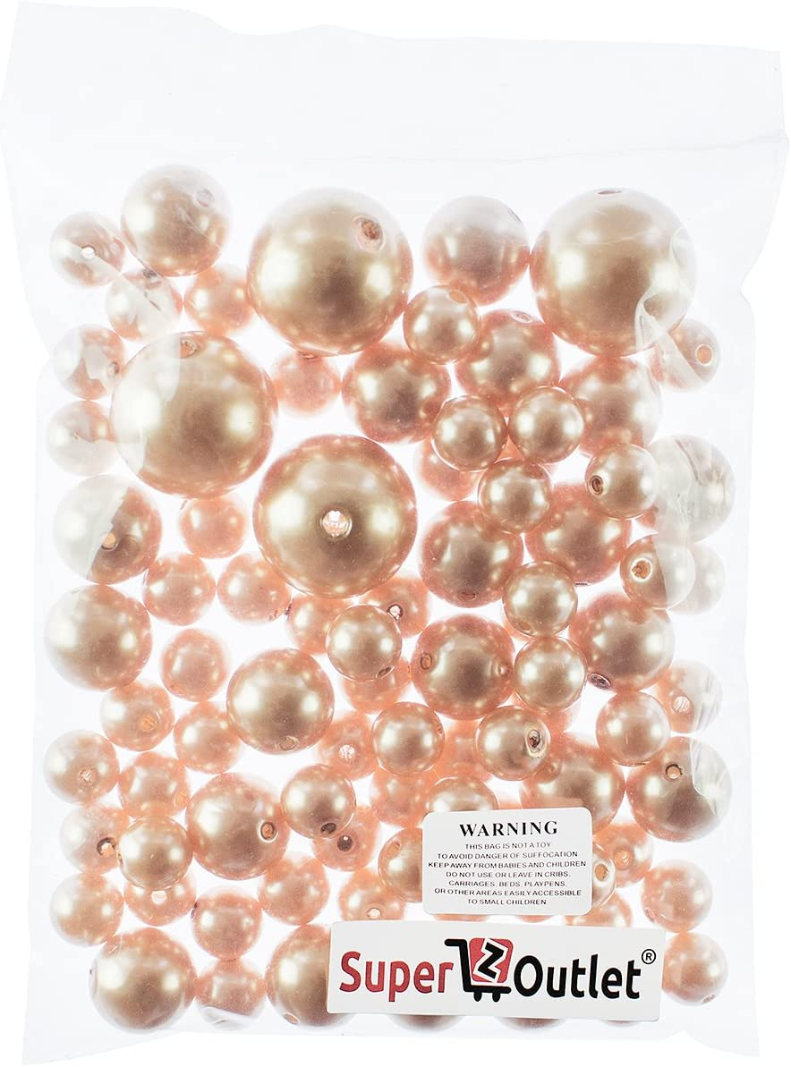 DIY Jewelry Necklaces Wedding Birthday Party Home Decoration 8 Ounce Pack, 70 Pieces Event Supplies Gold Table Scatter Super Z Outlet Elegant Glossy Polished Pearl Beads for Vase Fillers