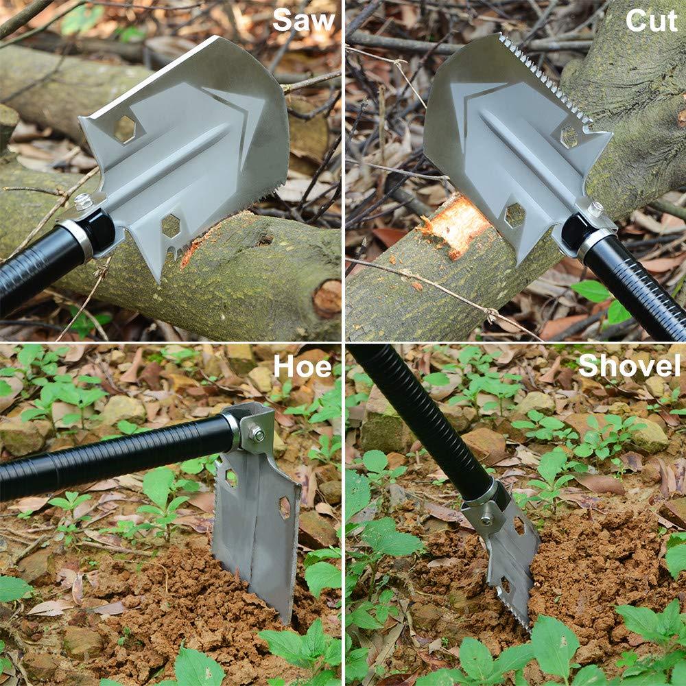 ROSE KULI Folding Shovel Multitool - Military Compact Snow Shovel for Car Camping Backpacking Gardening Outdoor Activities by ROSE KULI (Image #3)