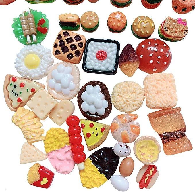10pcs Miniature Mini Hamburg Pizza Bread Ornament DIY Resin AccessoriesKTP