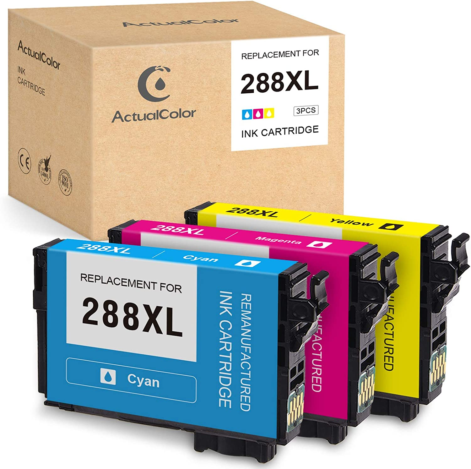 ActualColor C Remanufactured Ink Cartridge Replacement for Epson 288XL T288XL 288 XL for Expression Home XP-446 XP-440 XP-430 XP-330 XP-340 XP-434 (Cyan, Magenta, Yellow, 3-Pack)