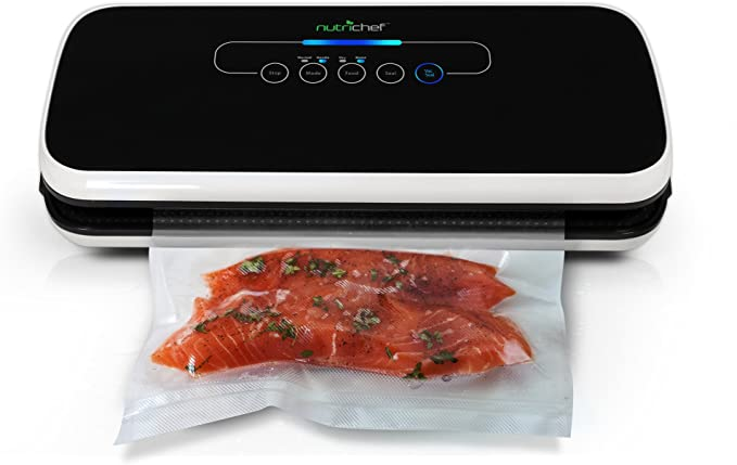 """NutriChef PKVS Sealer   Automatic Vacuum Air Sealing System Preservation w/Starter Kit   Compact Design   Lab Tested   Dry & Moist Food Modes   Led Indicator Lights, 12"""", Black   Amazon"""