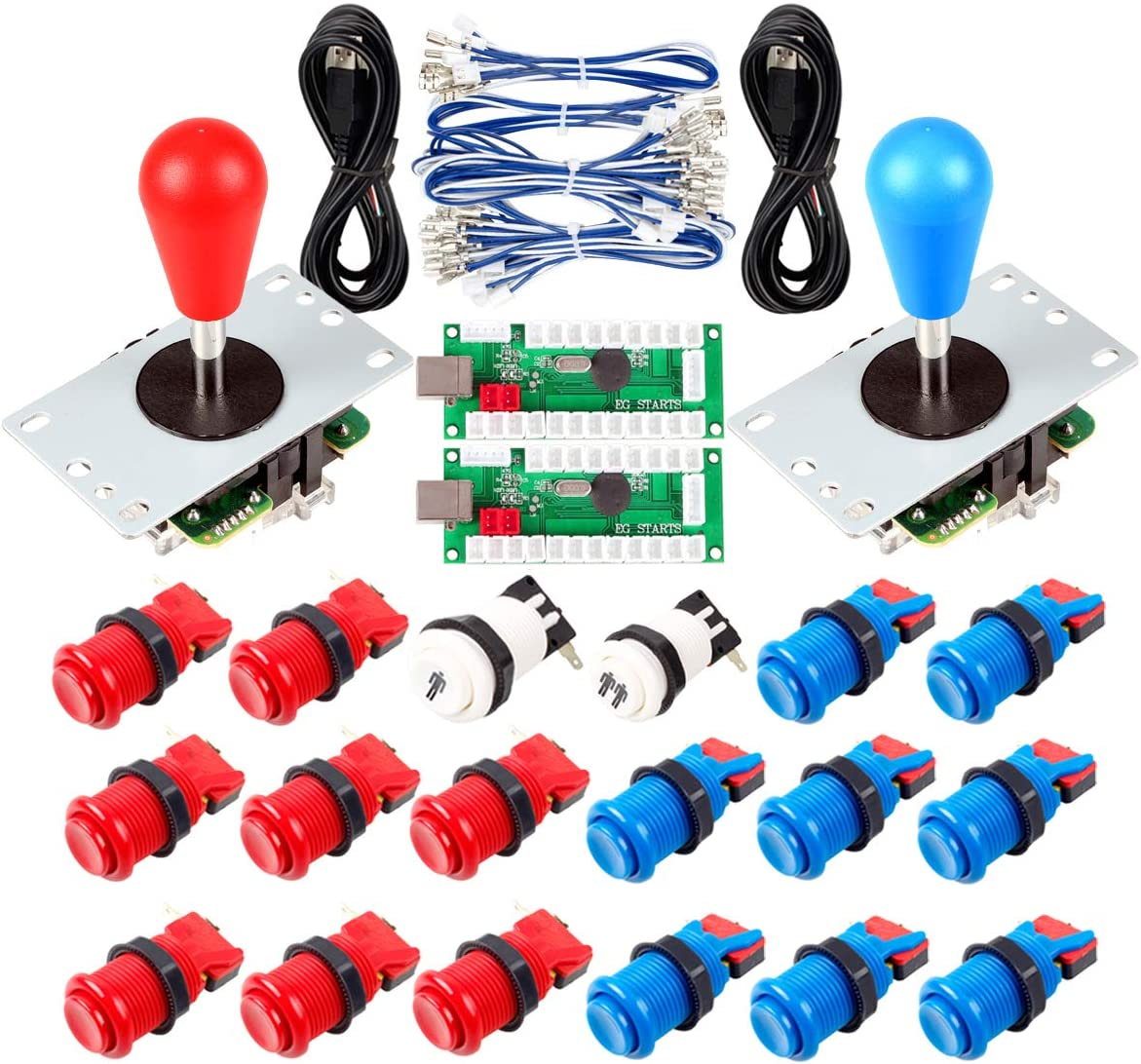 Avisiri 2 Player Arcade Joystick DIY Parts 2X USB Encoder + 2X Elliptical Joystick Hanlde + 18x American Style Arcade Buttons for PC, MAME, Raspberry Pi, Windows (Red & Blue)
