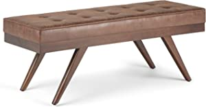 SIMPLIHOME Pierce 48 inch Wide Rectangle Ottoman Bench Distressed Umber Brown Tufted Footrest Stool, Polyester Fabric for Living Room, Bedroom, Mid Century