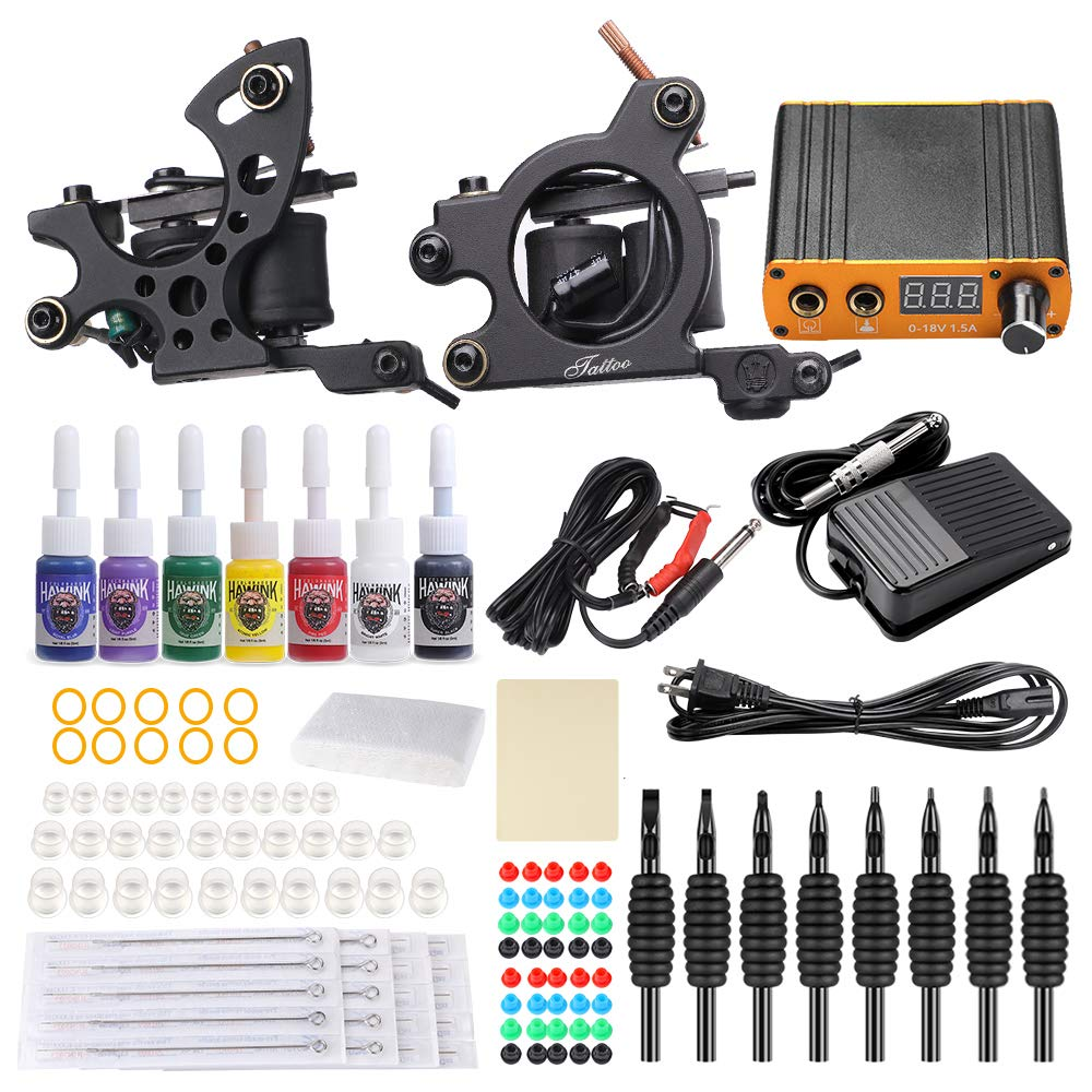HAWINK Complete Tattoo Kit for Beginners 2 Pro Tattoo Machine Kit Tattoo Power Supply 7 tattoo ink set Tattoo Supplies TK-HW2001