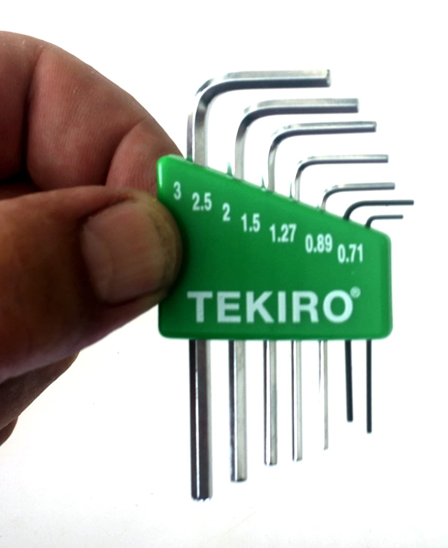 Tekiro 7 Piece Mini L-Key Short Hex Metric Set