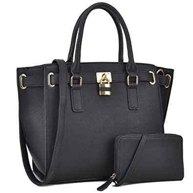 Women Large Vegan Leather Tote Bags Structured Work Bags Shoulder Purses  Handbags for Women with Padlock d7dbb5ce0f