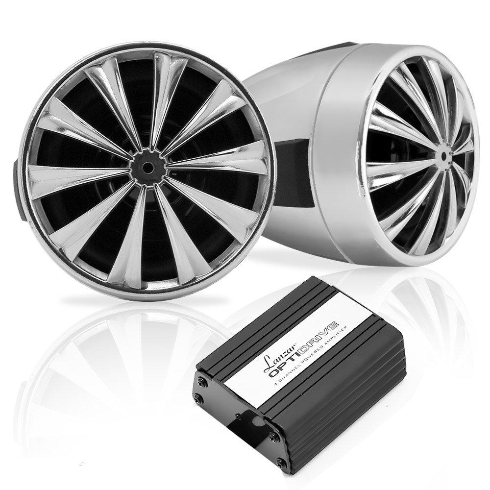 Lanzar OPTIMC90 Paire d'enceintes avec Amplificateur pour Moto/Scooter/Vélo/Motoneige 700 W 4 voies Entrées 3, 5 mm/USB Argent