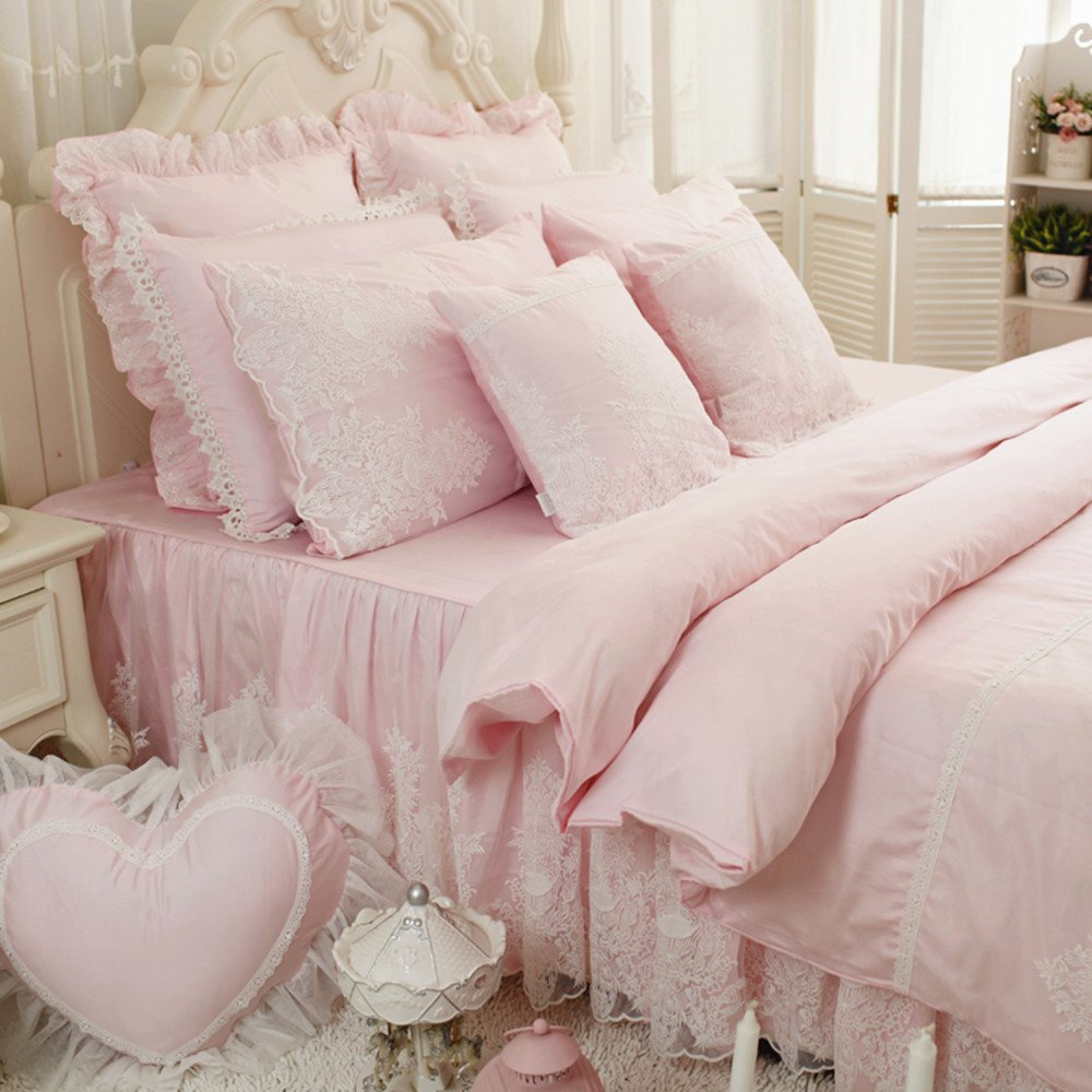 Abreeze Pink Girl Bed Set 100% Cotton Princess Ruffled Lace Duvet Cover Sets (Duvet Cover+Bed Skirt+Pillow Cases) Queen