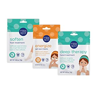 Miss Spa Recharging Gel Eye Mask and Hand and Foot At-Home Spa Treatment Set, Hydrates and Softens Skin, Anti-Aging, Anti-Wrinkle, Skin Care for Women, 3-Pack