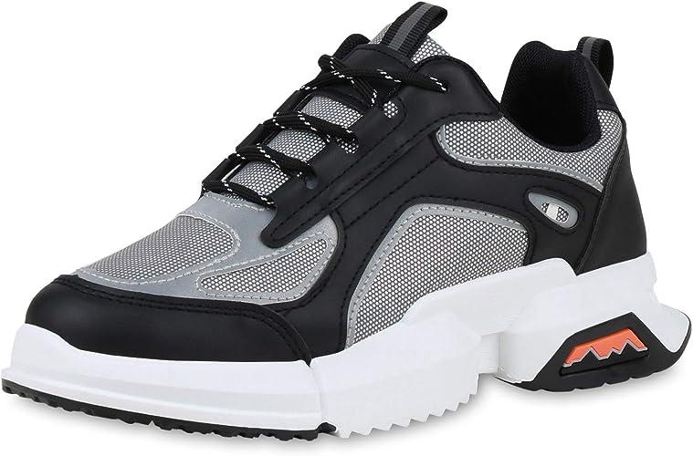 SCARPE VITA Damen Plateau Sneaker mit Keilabsatz Metallic