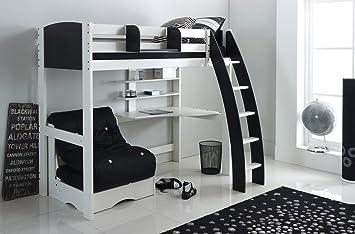 High sleeper lit blanc noir incurvé Échelle integral et