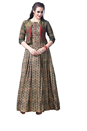 2bd8b54344 Natural Creation Chanderi Cotton Digital Print With banglory Silk Thred  Work Koti Gown (Free Size): Amazon.in: Clothing & Accessories