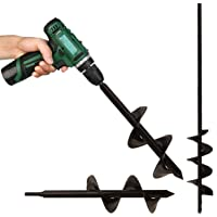 Auger Drill Bits Digger, Premium Heavy-Duty Solid Steel. Garden Hole Digger for Seedlings, Flowers & Plant Bulbs, Post…