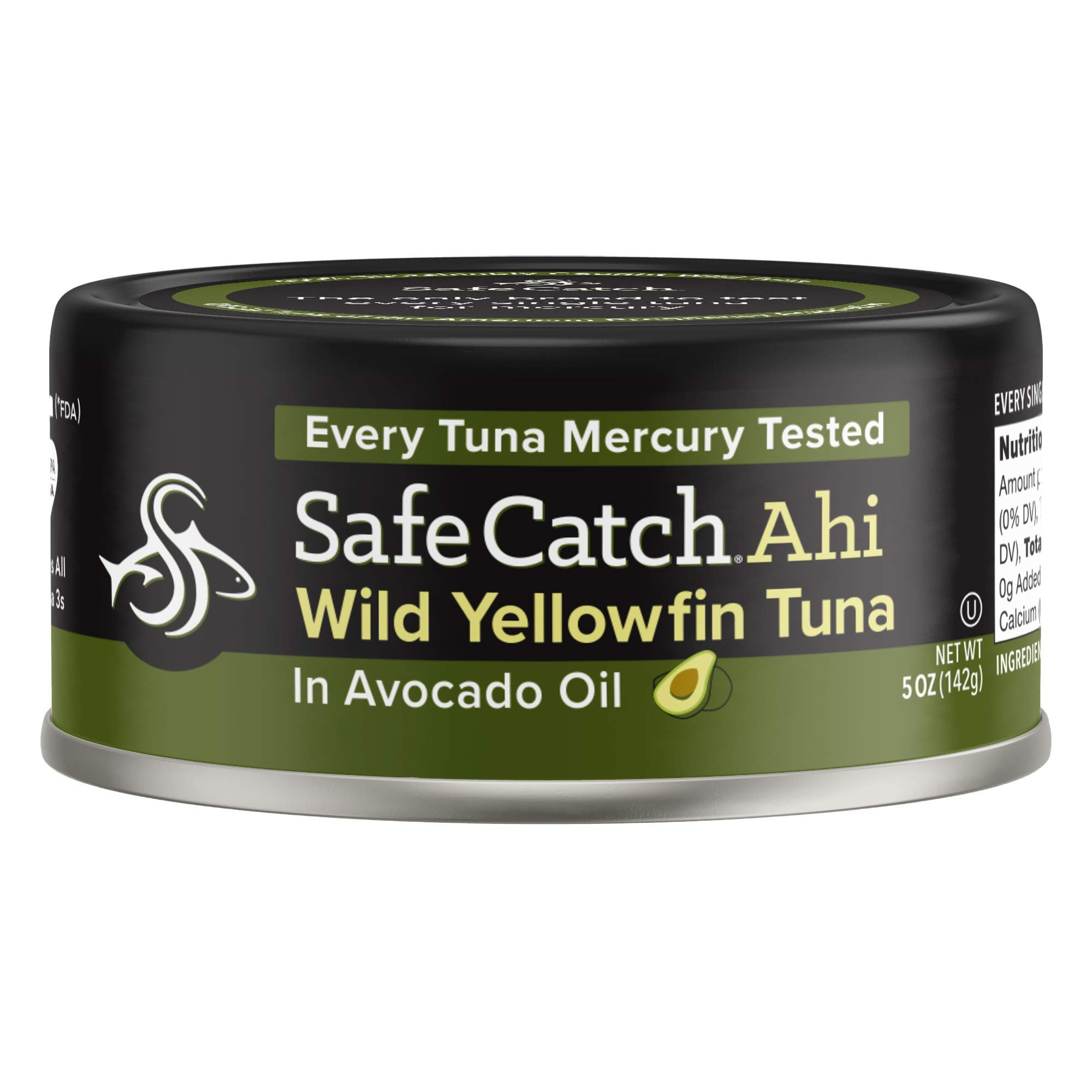 Safe Catch Ahi, Lowest Mercury Solid Wild Yellowfin Tuna Steak, 5 oz Can. The Only Brand to Test Every Tuna for Mercury (6 Pack in Avocado Oil) by Safe Catch (Image #1)