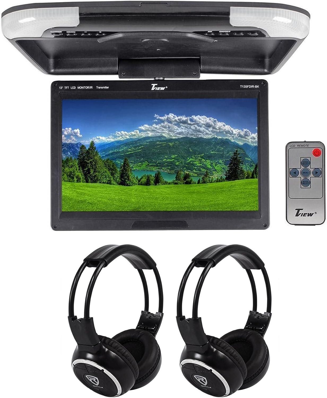 "2 Wireless Headphones Tview T135FDIR-BK 13/"" Black Flip Down Car Video Monitor"