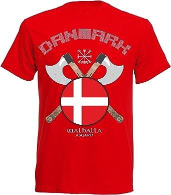 aprom NC21 - Camiseta de manga corta, diseño de Dinamarca, color rojo: Amazon.es: Ropa y accesorios