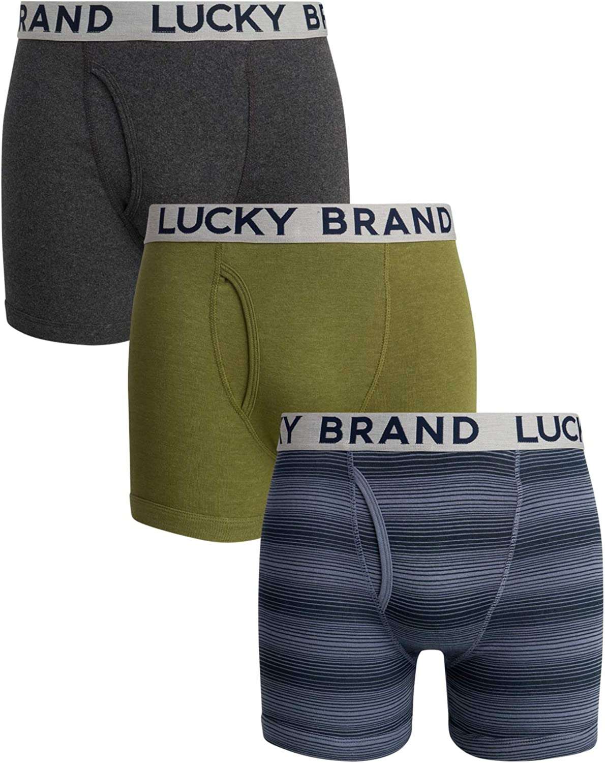 Lucky Brand Men's Cotton Boxer Briefs (3 Pack)