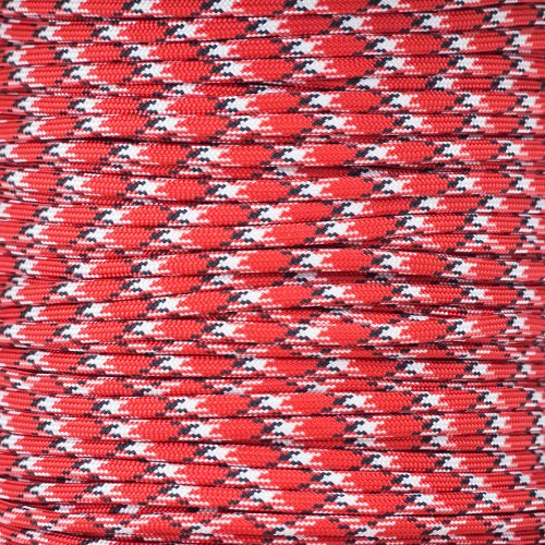 PARACORD PLANET 10 20 25 50 100 Foot Hanks and 250 1000 Foot Spools of Parachute 550 Cord Type III 7 Strand Paracord Red /& Black 50 Feet