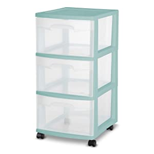 SET OF 2 Sterilite 3-Drawer TEAL Large Rolling Storage Cart Home Organizer