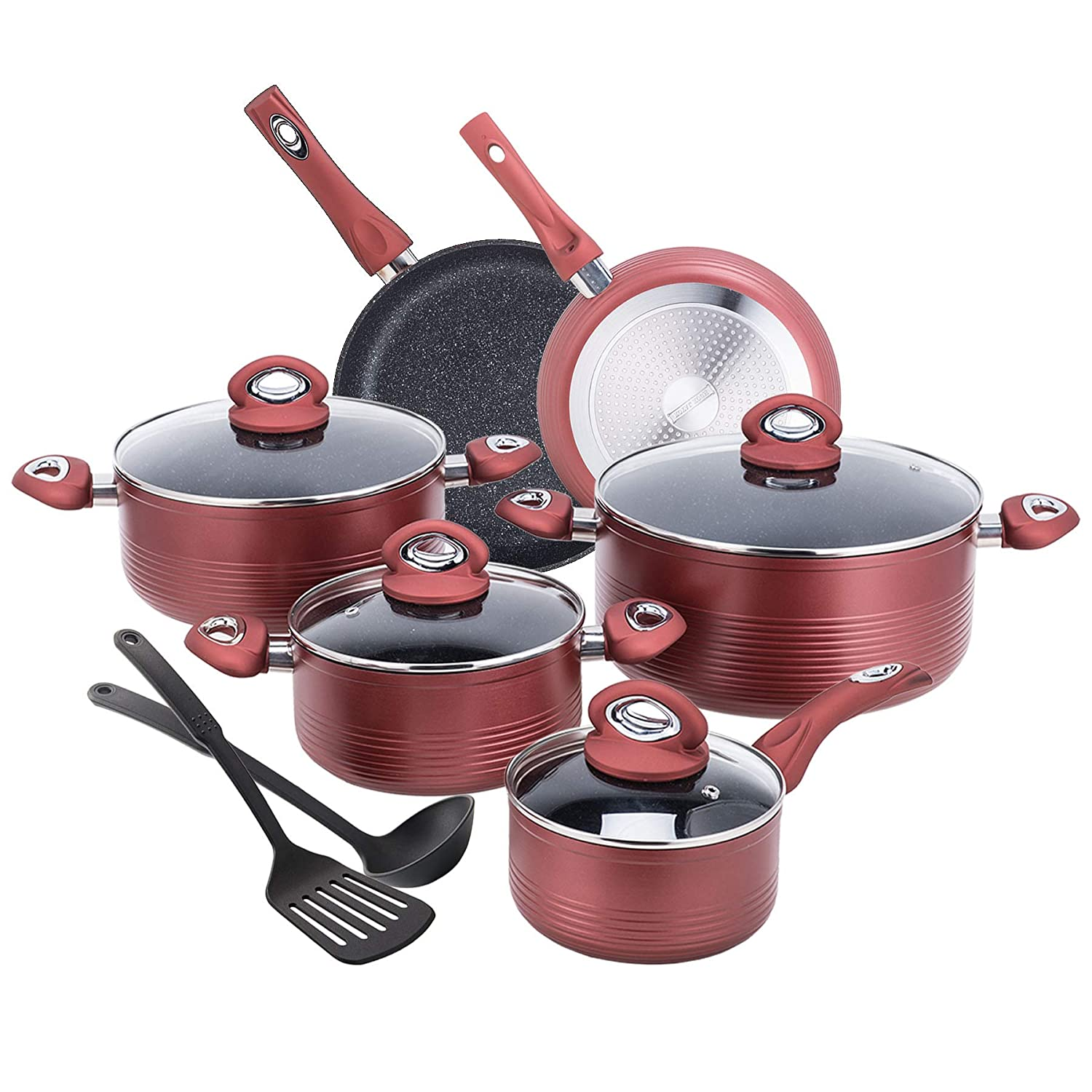 CO-Z 12-PCS Cookware Set Teflon-Coated Nonstick Pots and Pans Set, Induction Compatible, with Bakelite Handle, FDA Certificated, PFOA –Free, Dishwasher-Safe (12-PCS Cookware Set) PFOA –Free ACW-0010-RD