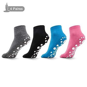Royaume-Uni disponibilité 7a4a0 7b93f GHB Chaussettes de Yoga 4 Paires Chaussettes Antidérapantes Femme en Coton  Douces pour Sports Yoga Pilates Danse Fitness