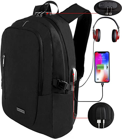 """Men 16/"""" Laptop Notebook Bag Backpack With USB Port Travel School Bags Anti-Theft"""