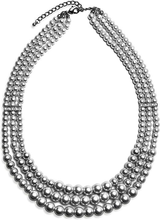 statement crystal choker free form Collar bib beadwork pendant a117gg pearl beaded seed beads multi strand Pearl grey necklace
