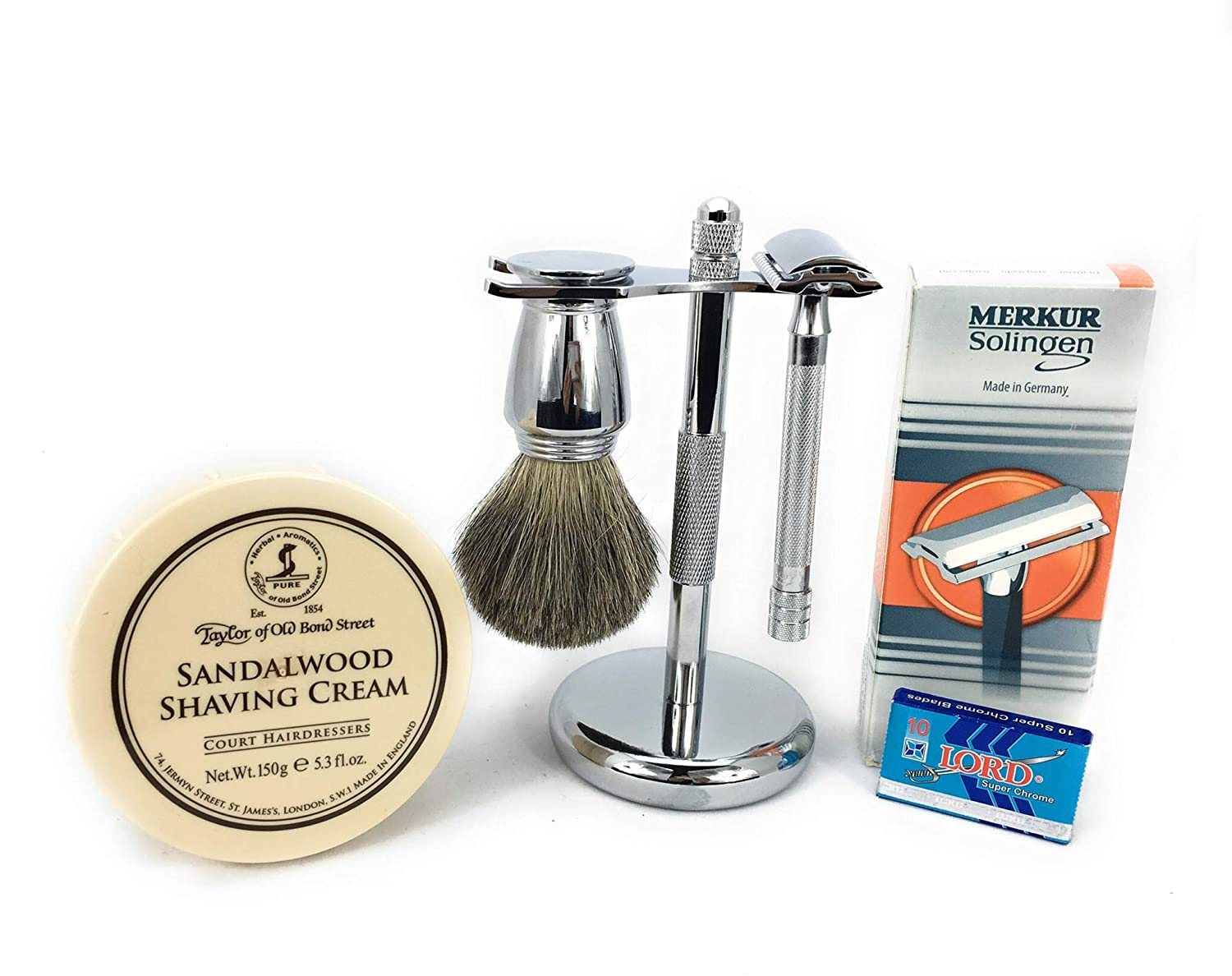 B00U7D349O GBS Shaving Gift Set Made in Soligen Germany MK Safety Razor Long Handle + Wet Shaving Badger Brush, Taylor Of Bond Street Shave Cream Bowl Stand and 10 Pack of Blades Holiday Christmas Gift 71IEujPss5L._SL1500_