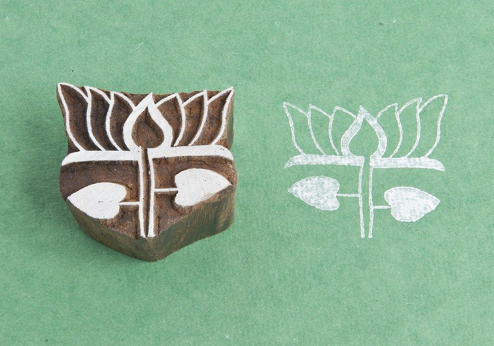 Blockwallah Lotus Wooden Block Stamp
