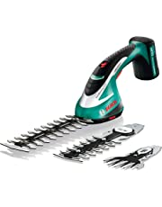 Bosch Cordless Shrub Shear Set with 3 Blades ASB 10.8 LI (Integrated Lithium-Ion Battery, 10.8 Volt, 2 Shrub Blades and 1 Grass Blade Included, in Case)